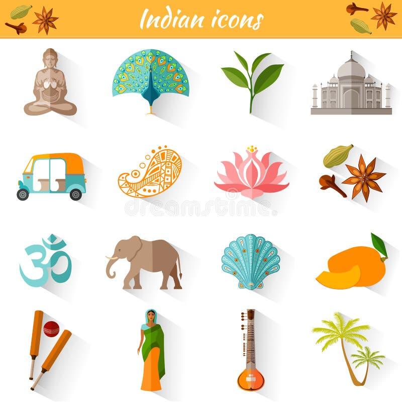 Insieme dei simboli nazionali tradizionali dell'India illustrazione vettoriale