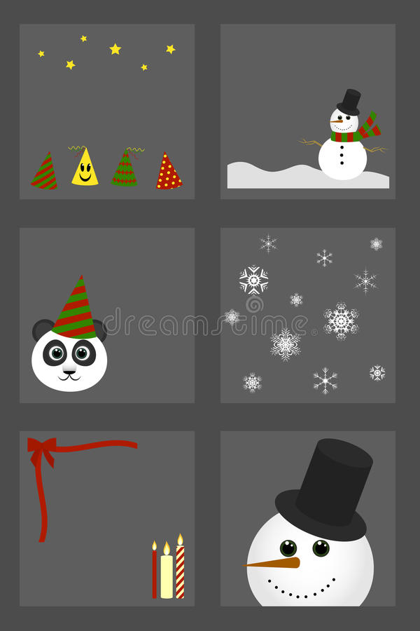 Insieme dei simboli pupazzo di neve, candela, fiocchi di neve di Natale per lo spostamento di regalo illustrazione di stock