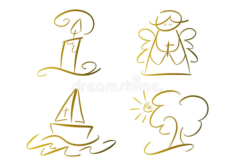 Insieme dei simboli religiosi (oro) illustrazione vettoriale