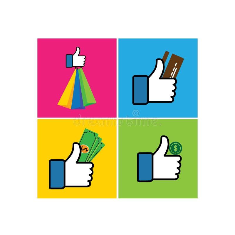 Insieme dei simboli simili della mano dei pollici su con i sacchetti della spesa - vecto illustrazione di stock