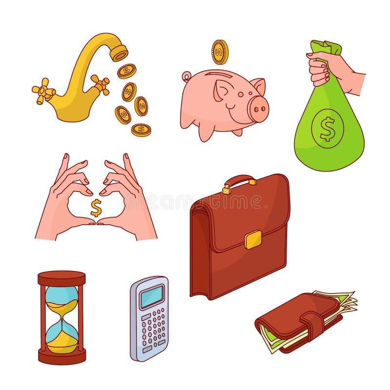 Insieme dei soldi di attività bancarie di finanza di affari di schizzo di vettore illustrazione vettoriale