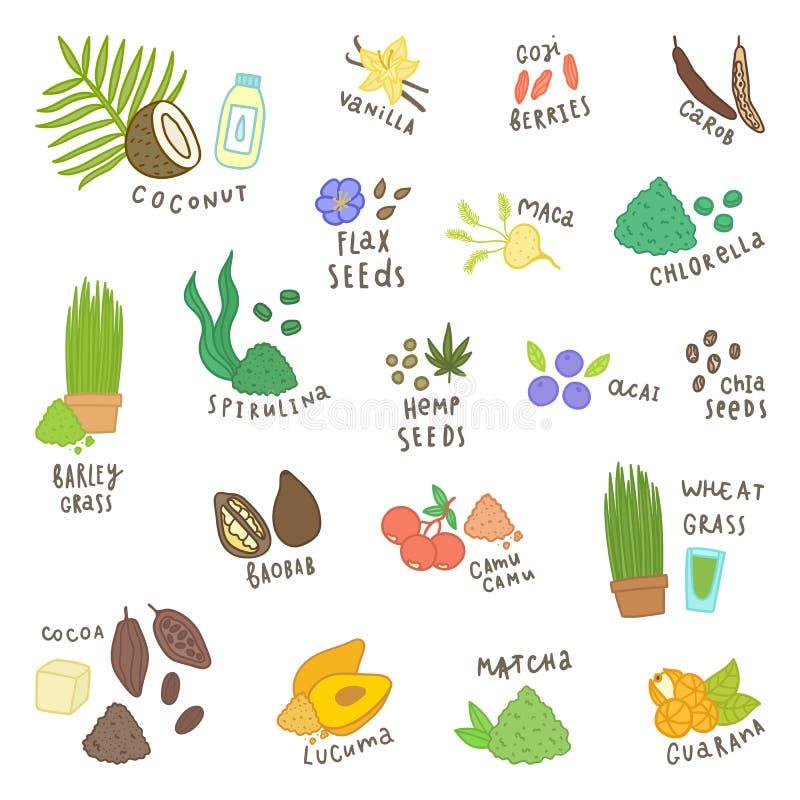 Insieme dei superfoods differenti Isolato su bianco illustrazione di stock