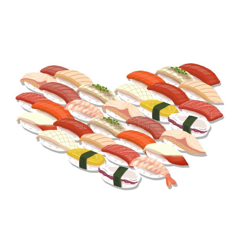 Insieme dei sushi illustrazione vettoriale