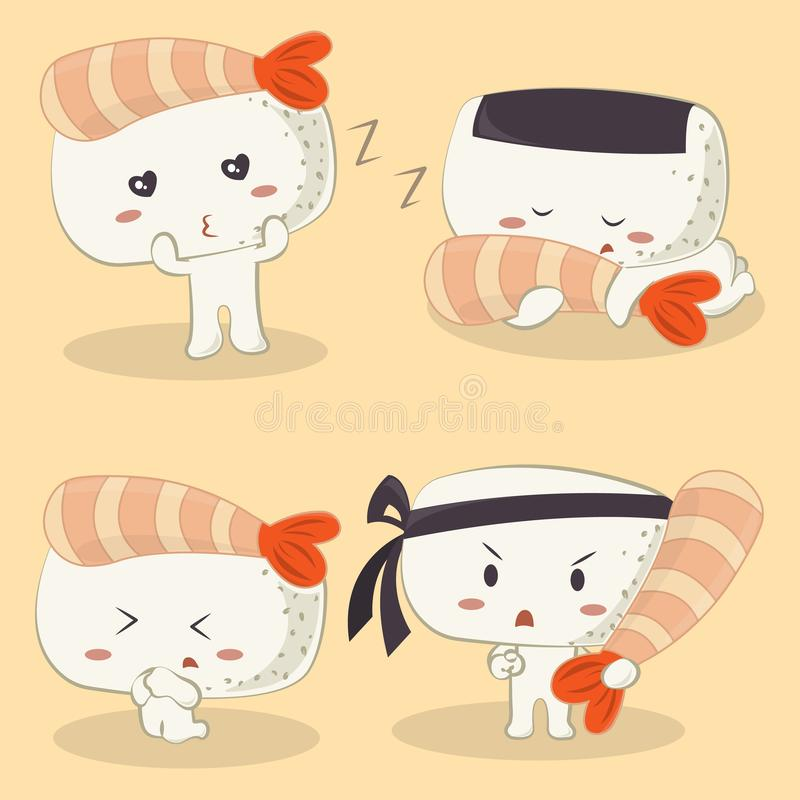 Insieme dei sushi di Ebi Nigiri del gamberetto illustrazione vettoriale