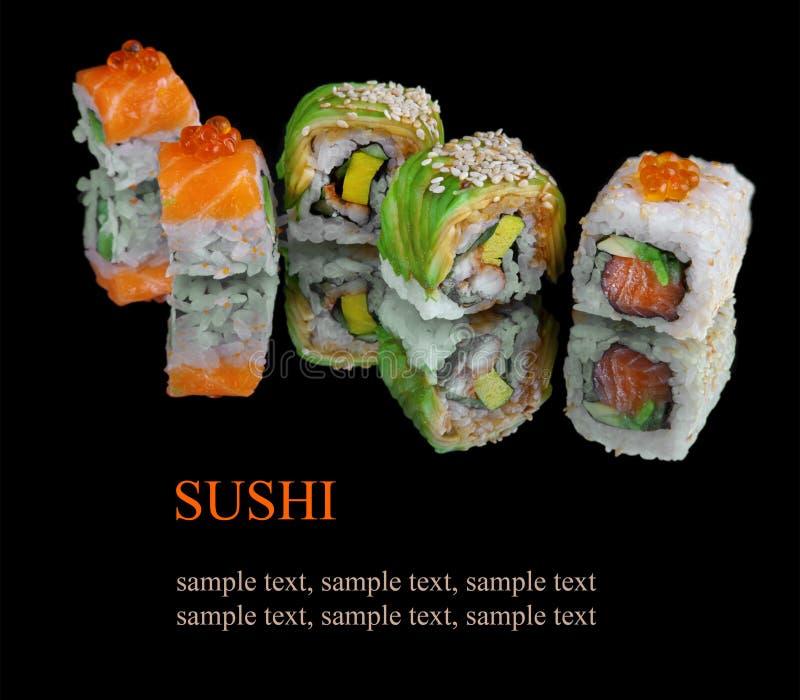 Insieme dei sushi giapponesi immagini stock libere da diritti