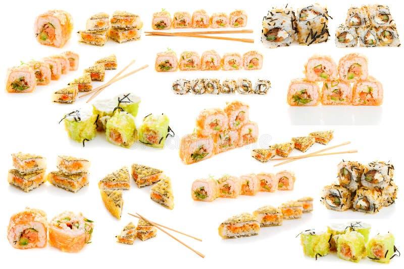 Insieme dei sushi isolati immagini stock libere da diritti