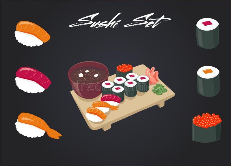 Insieme dei sushi Salsa di soia e rotolo di sushi Alimento giapponese Fumetto di vettore Amici per sempre illustrazione di stock