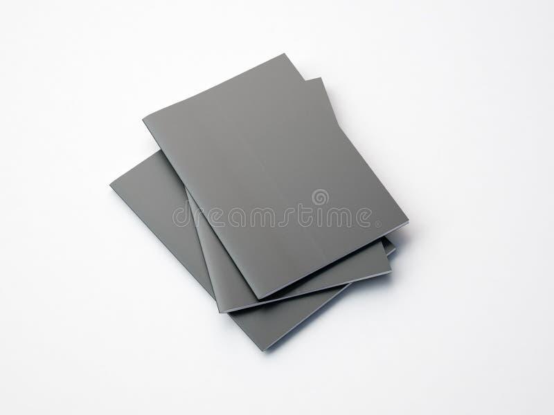 Insieme dei taccuini grigi sui precedenti bianchi 3d immagini stock libere da diritti
