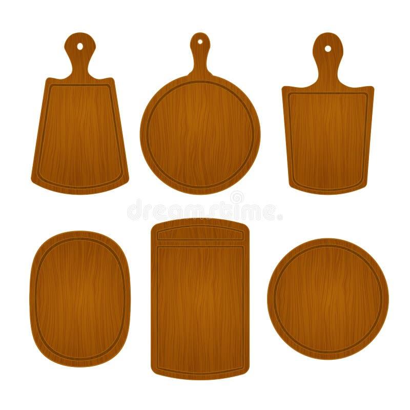Insieme dei taglieri di legno vuoti nelle forme differenti isolati su fondo bianco Illustrazione di vettore dell'oggetto della cu illustrazione di stock