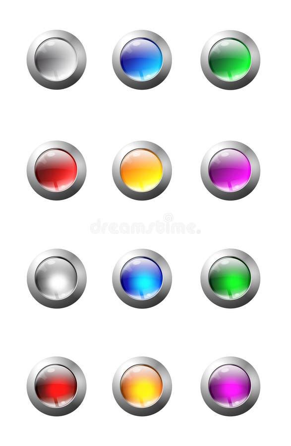 Insieme dei tasti di vetro illustrazione di stock