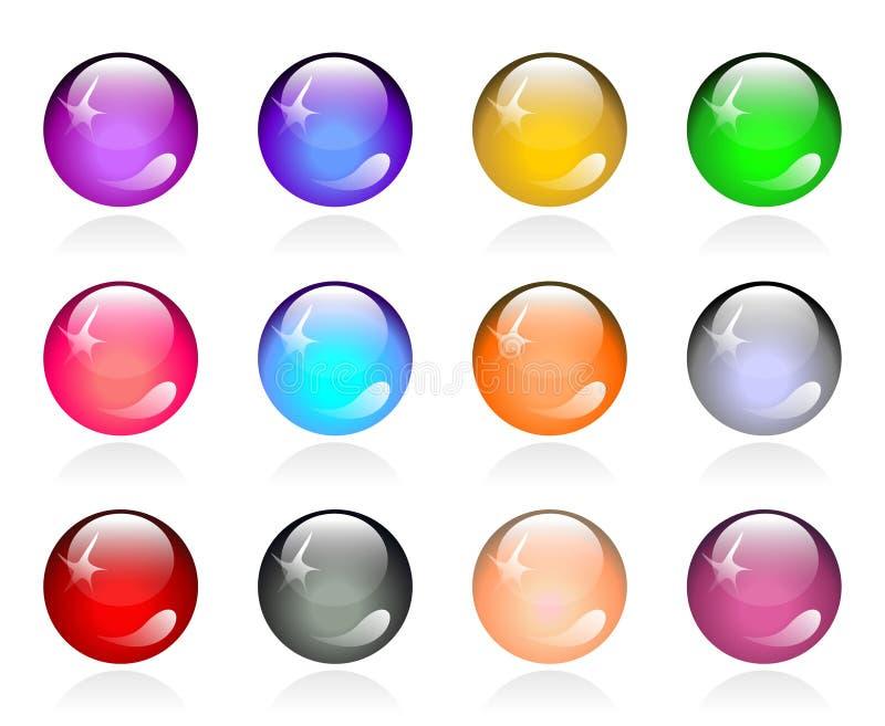 Insieme dei tasti rotondi di colore lucido illustrazione vettoriale
