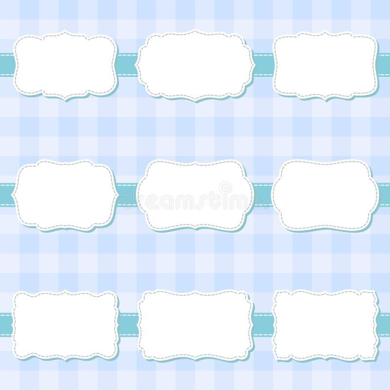 Insieme dei telai in bianco di cucito decorativi del fumetto sveglio Etichette di forma per la doccia di bambino, insegna, autoad royalty illustrazione gratis