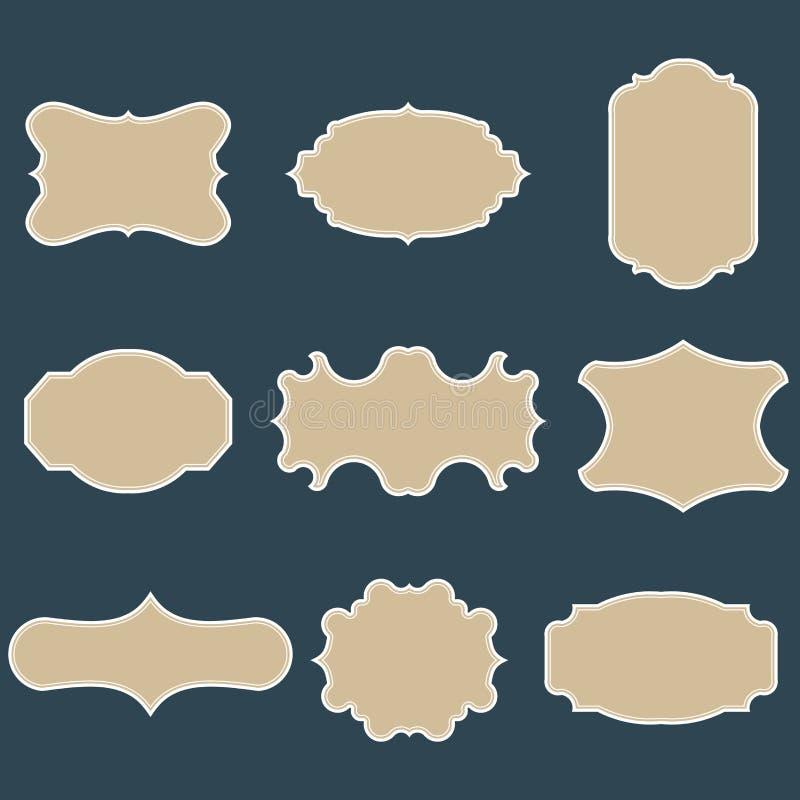 Insieme dei telai d'annata in bianco Etichette del regalo Incarti i contrassegni Progettazione piana Vettori isolati illustrazione di stock