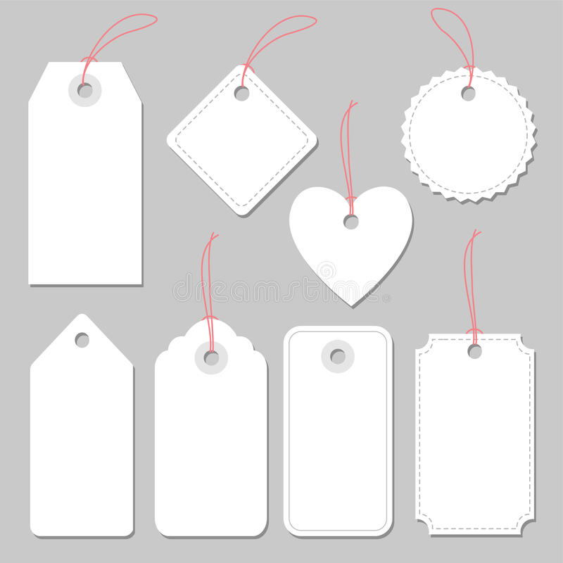 Insieme dei telai d'annata in bianco, etichette ed etichette, isolate illustrazione vettoriale