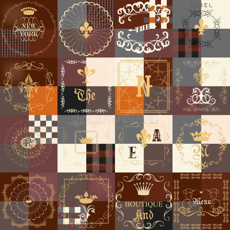 Insieme dei telai d'annata per le etichette di lusso, logos, boutique, caffè, illustrazione di stock