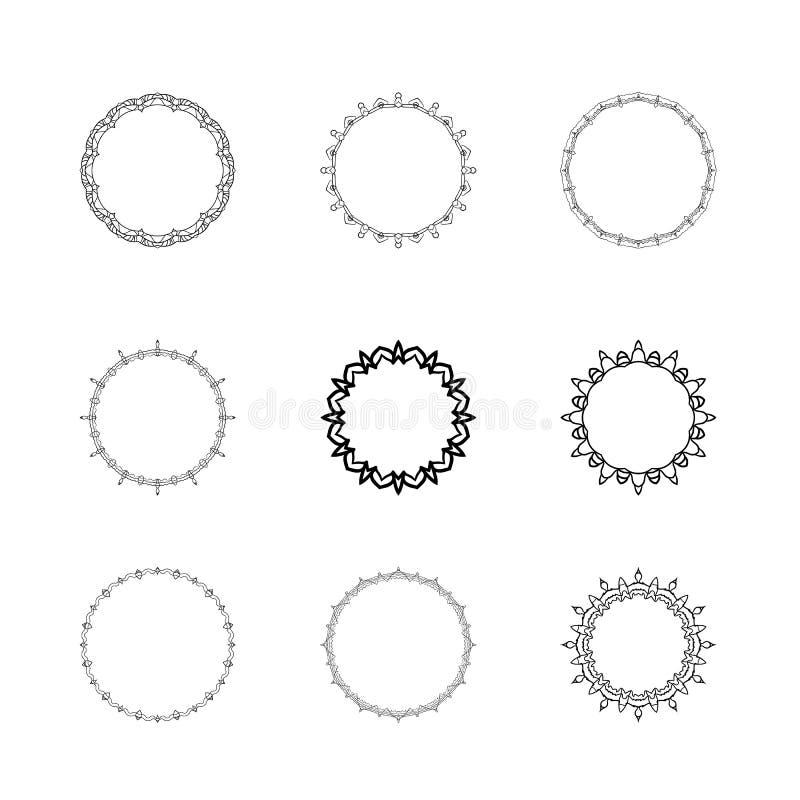 Insieme dei telai decorativi semplici Illustrazione di vettore illustrazione di stock