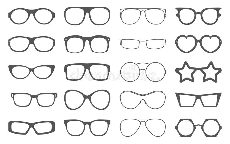 Insieme dei telai degli occhiali da sole isolati su bianco royalty illustrazione gratis