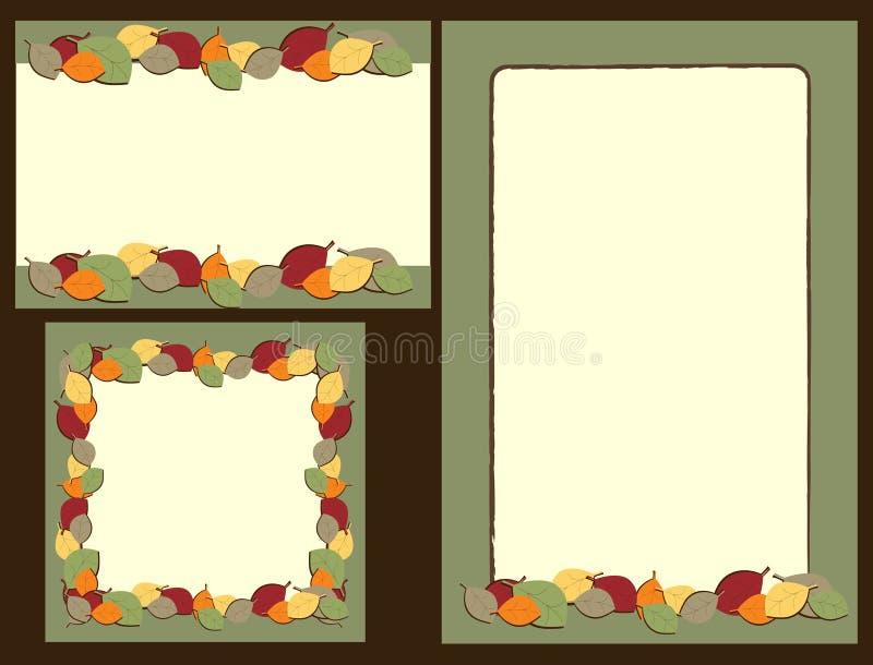 Insieme dei telai dei fogli di autunno illustrazione vettoriale