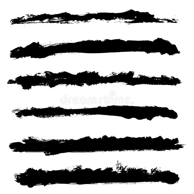 Insieme dei telai del confine di vettore di lerciume Fondo disegnato a mano di struttura Forma astratta Pacchetto di vettore illustrazione vettoriale