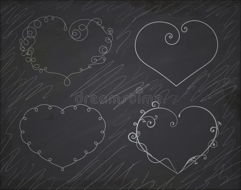 Insieme dei telai del cuore Elemento per progettazione illustrazione di stock