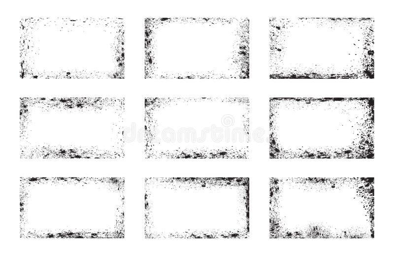 Insieme dei telai di lerciume, sovrapposizioni del fondo illustrazione di stock