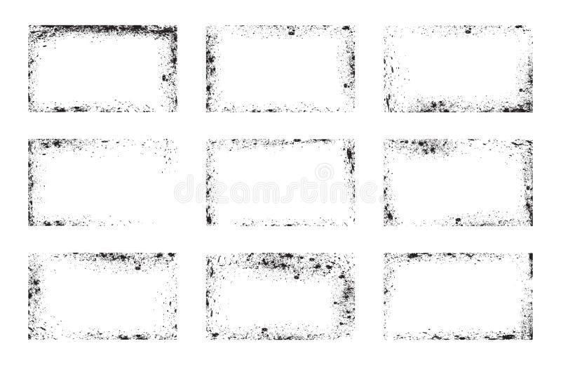 Insieme dei telai di lerciume, sovrapposizioni del fondo, angoli sporchi illustrazione di stock