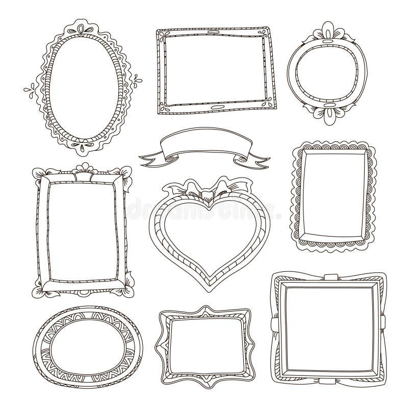Insieme dei telai di scarabocchio su fondo bianco royalty illustrazione gratis