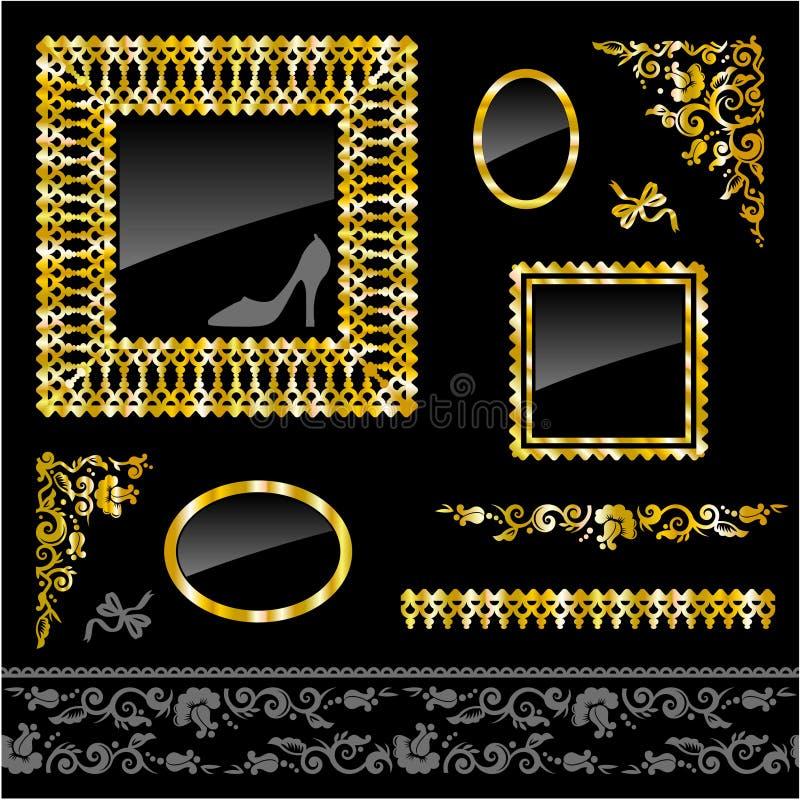 Insieme dei telai e degli elementi dorati di disegno illustrazione di stock