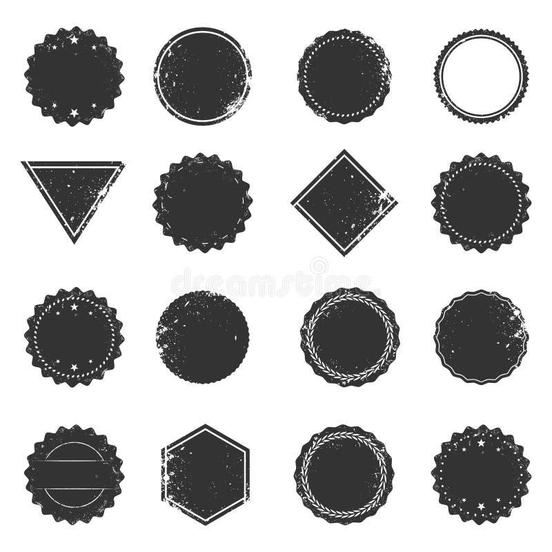 Insieme dei telai isolati di lerciume, elementi d'annata di progettazione dell'etichetta royalty illustrazione gratis