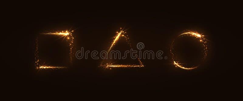 Insieme dei telai luminosi dell'oro immagine stock libera da diritti