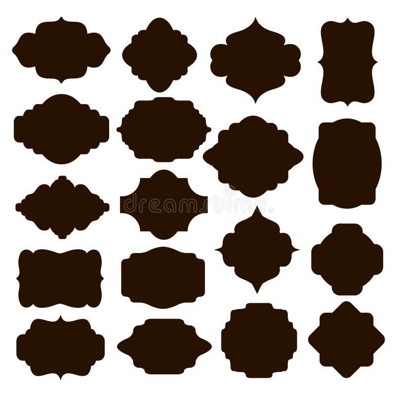 Insieme dei telai neri della siluetta per i distintivi royalty illustrazione gratis
