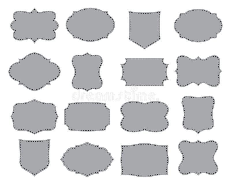 Insieme dei telai semplici Raccolta delle forme dell'etichetta Illustrazione di vettore fotografia stock libera da diritti