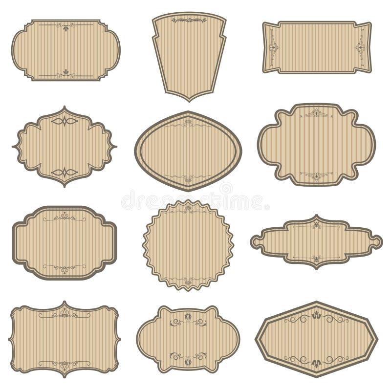 Insieme dei telai a strisce dell'annata Elementi di progettazione per l'etichetta, emblema, illustrazione vettoriale