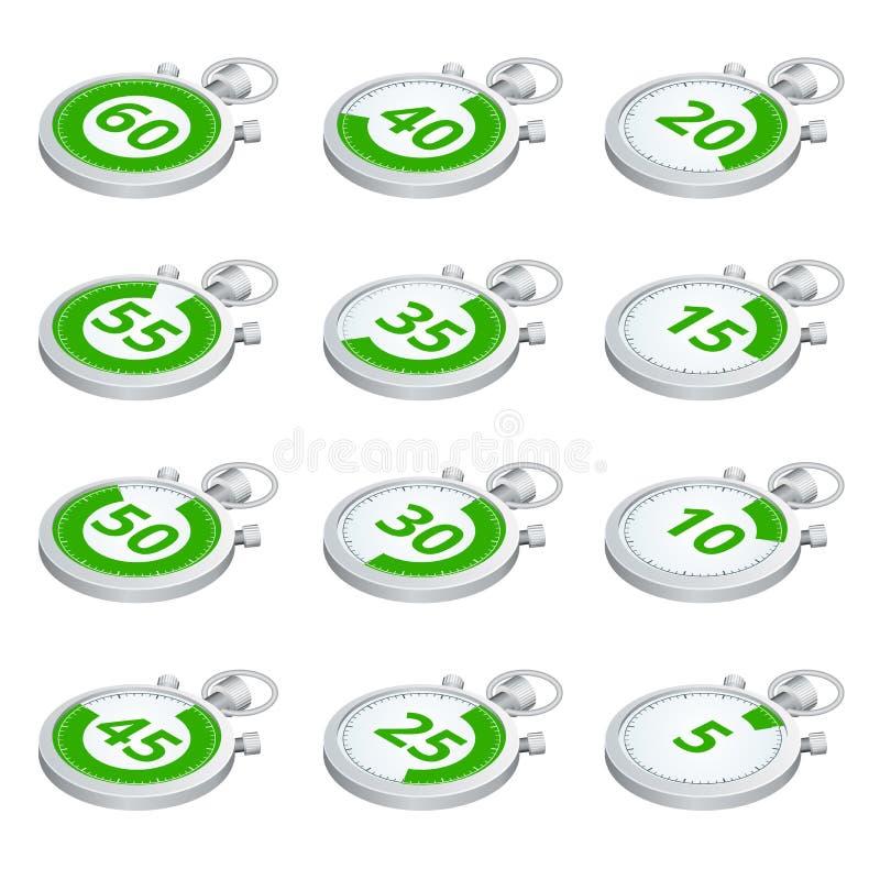 Insieme dei temporizzatori verdi Illustrazione isometrica di vettore 3d Cronometro di sport royalty illustrazione gratis