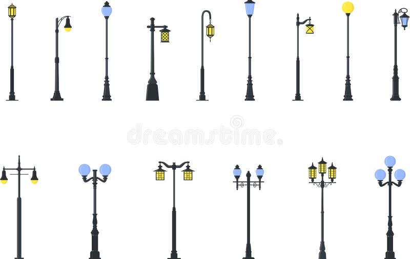 Insieme dei tipi differenti di lampade di via isolate su fondo bianco nello stile piano Illustrazione di vettore royalty illustrazione gratis