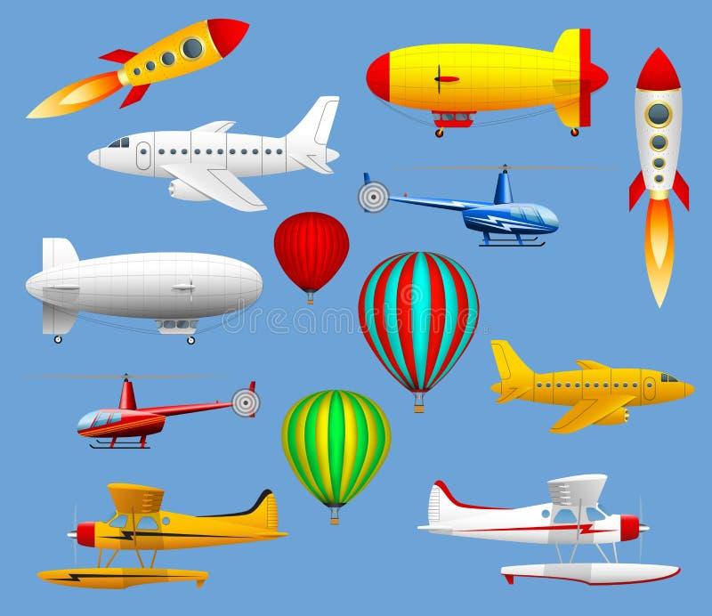 Insieme dei tipi differenti di trasporti aerei Aeroplani, elicotteri, palloni e zeppelin royalty illustrazione gratis