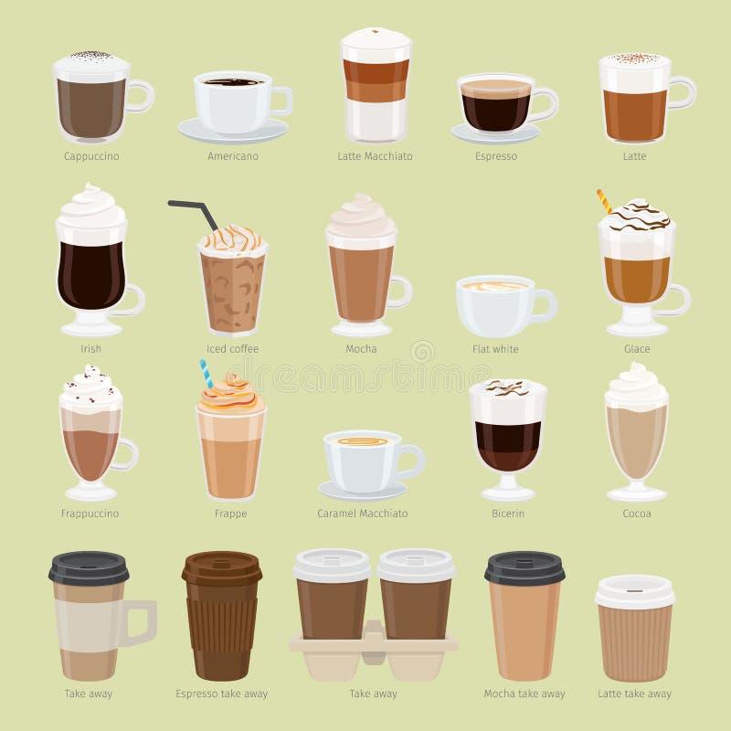 Insieme dei tipi e dei pacchetti del caffè Menu del caffè illustrazione vettoriale