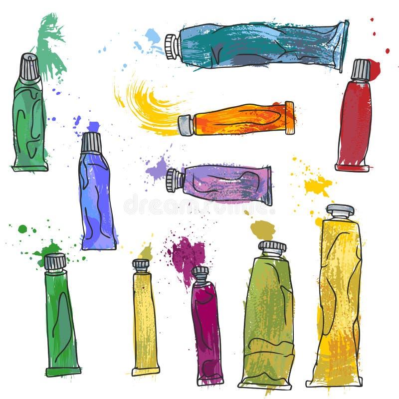 Insieme dei tubi della pittura royalty illustrazione gratis