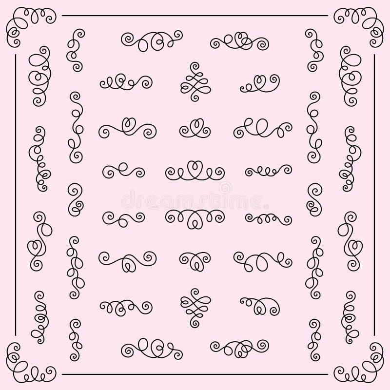 Insieme dei turbinii calligrafici f degli elementi romantici decorativi di progettazione royalty illustrazione gratis