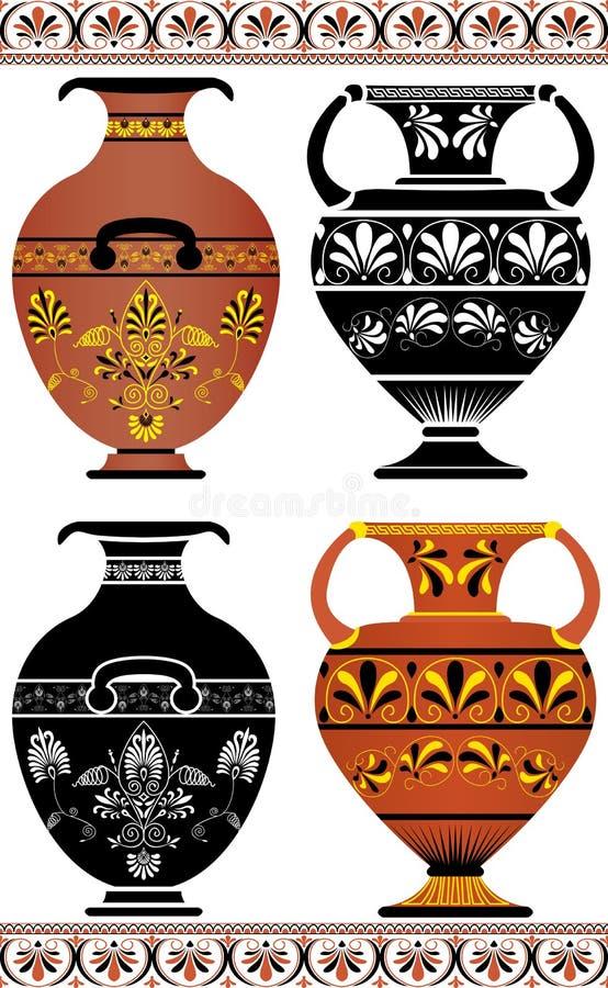 Decorazioni Dei Vasi Greci.Vasi Greci Vasi Decorativi Antichi Isolati Su Bianco Ciotole