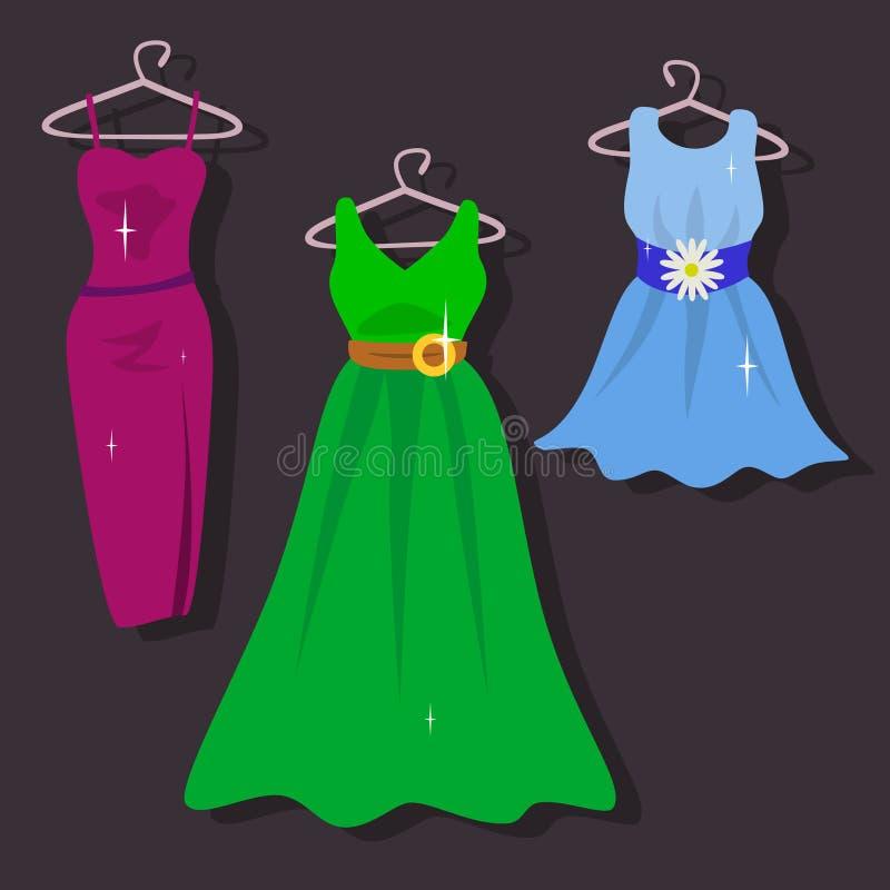 Insieme dei vestiti dal ` s delle donne illustrazione vettoriale