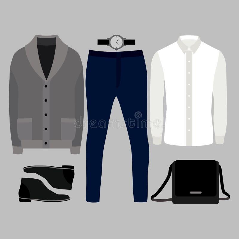 Insieme dei vestiti degli uomini d'avanguardia Attrezzatura del cardigan, della camicia, dei pantaloni e degli accessori dell'uom fotografia stock libera da diritti