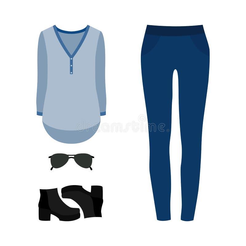 Insieme dei vestiti delle donne d'avanguardia con i jeans, la blusa e il accessorie illustrazione vettoriale