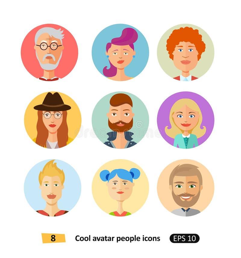 Insieme dei vestiti differenti delle icone piane fresche degli avatar, toni e stili di capelli moderni e stile piano semplice del illustrazione vettoriale