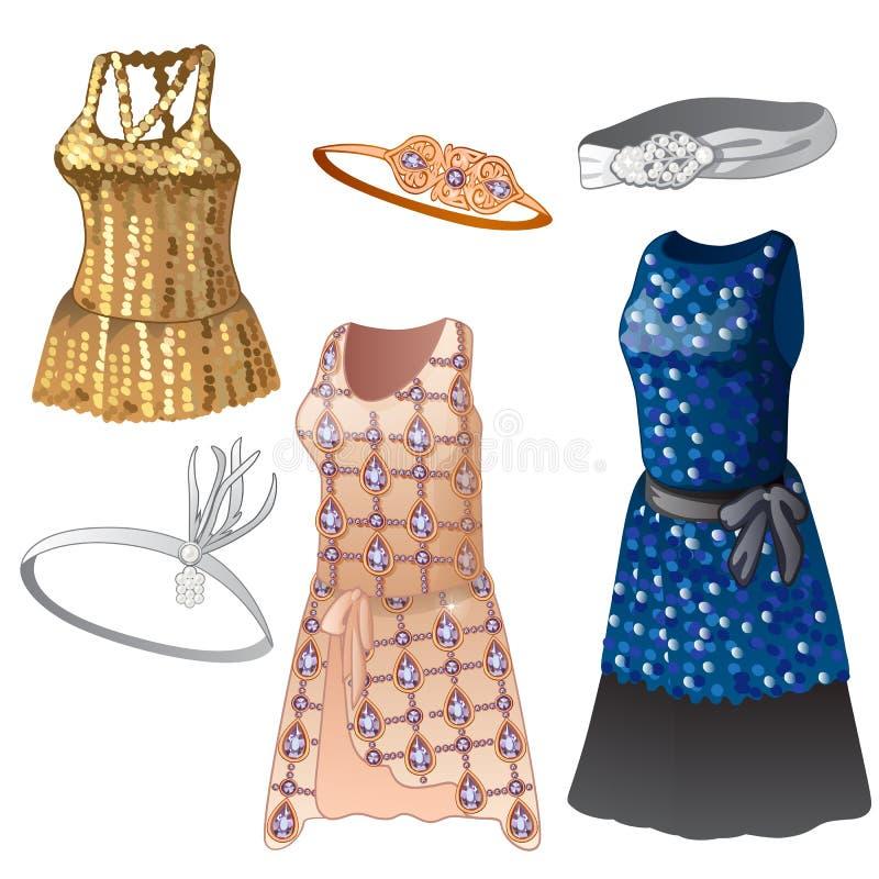 Insieme dei vestiti e delle cinghie dalle donne Raccolta dei vestiti classici per le ragazze, colori differenti, con le scintille illustrazione vettoriale