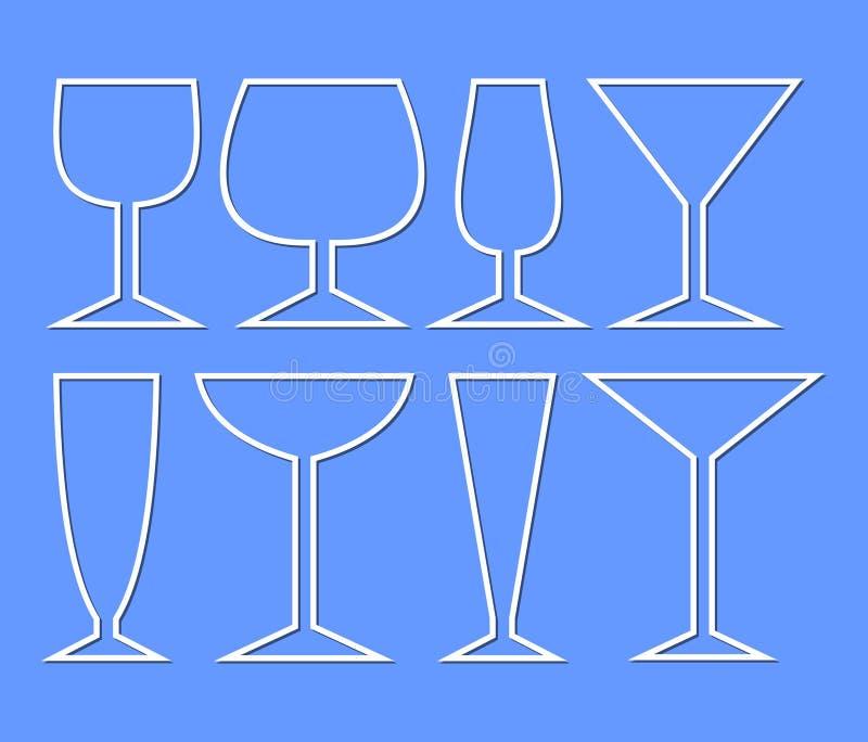 Insieme dei vetri di vino per i tipi differenti di vini Siluette di vetro di monoline semplice per la decorazione della carta del illustrazione di stock