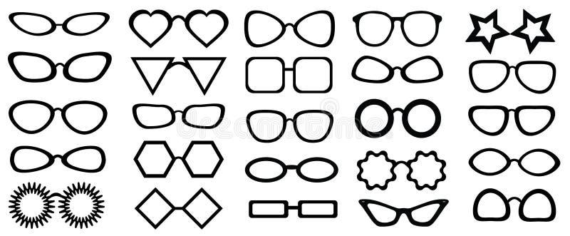 Insieme dei vetri isolati 25 pezzi Illustrazione di vettore su priorità bassa bianca I vetri modellano le icone, uomo, strutture  illustrazione vettoriale