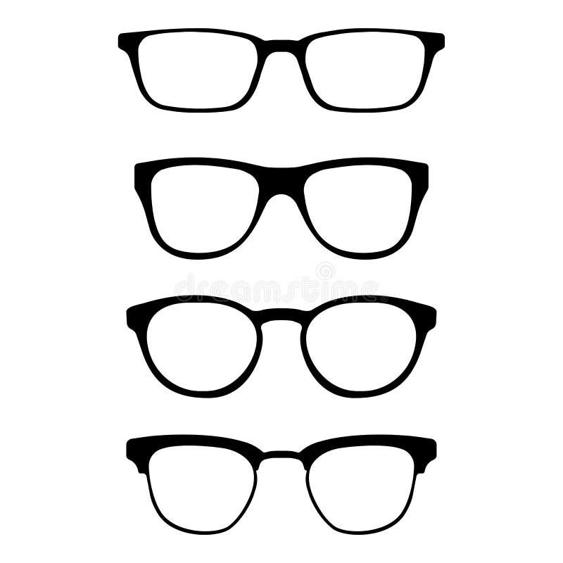 Insieme dei vetri isolati su fondo bianco Icone di modello di vetro di vettore Siluette degli occhiali da sole Varie forme illustrazione vettoriale