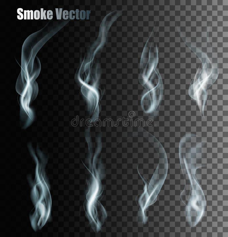 Insieme dei vettori differenti trasparenti del fumo illustrazione di stock