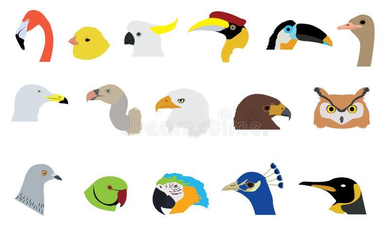 Insieme dei vettori e delle icone degli uccelli illustrazione di stock